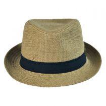 Jute Fabric C-Crown Trilby Fedora Hat alternate view 2