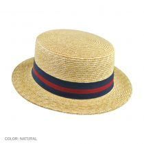 Striped Band Wheat Straw Skimmer Hat in
