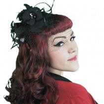 Flower and Veil Straw Fascinator Headband in