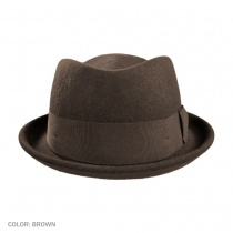 B2B Jaxon Crushable Wool Felt Diamond Crown Fedora Hat  (Brown) Alternate View