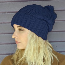 Brooklyn Pom Knit Acrylic Beanie Hat
