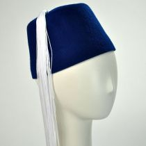 Blue Fez with White Tassel in