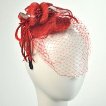 Flower and Veil Straw Fascinator Headband in Alternate View