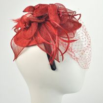 Flower and Veil Straw Fascinator Headband Alternate View