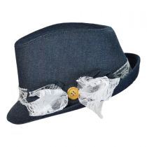 Denim and Lace Fedora Hat