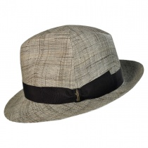Raffia and Fabric Trilby Hat