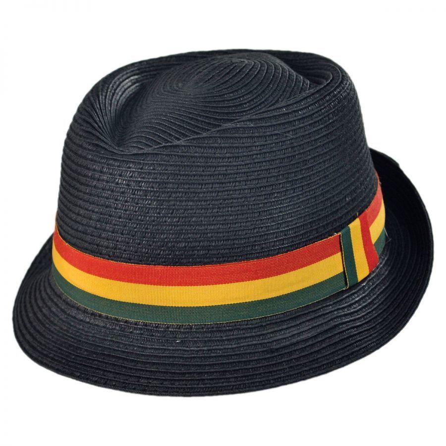 8c44e540 Kenny K Rasta Toyo Straw Diamond Crown Fedora Hat. Enlarge Image. Rasta  Toyo Straw Diamond Crown Fedora Hat alternate view 1