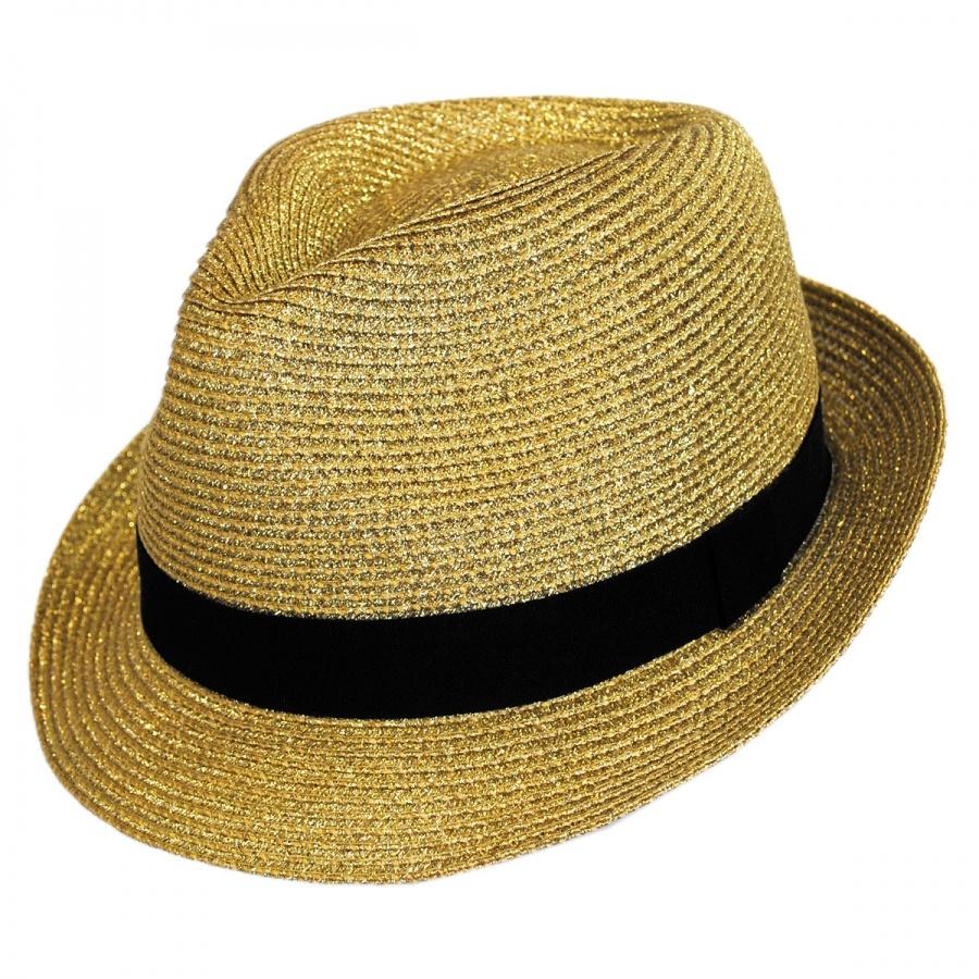 c4a618fa088b Jeanne Simmons Metallic Straw Trilby Fedora Hat Fedoras