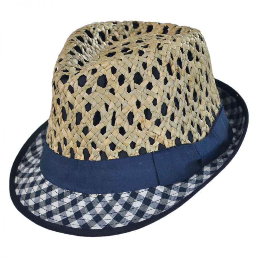 2c365a17 Jeanne Simmons Kid's Picnic Cotton and Straw Fedora Hat Girls