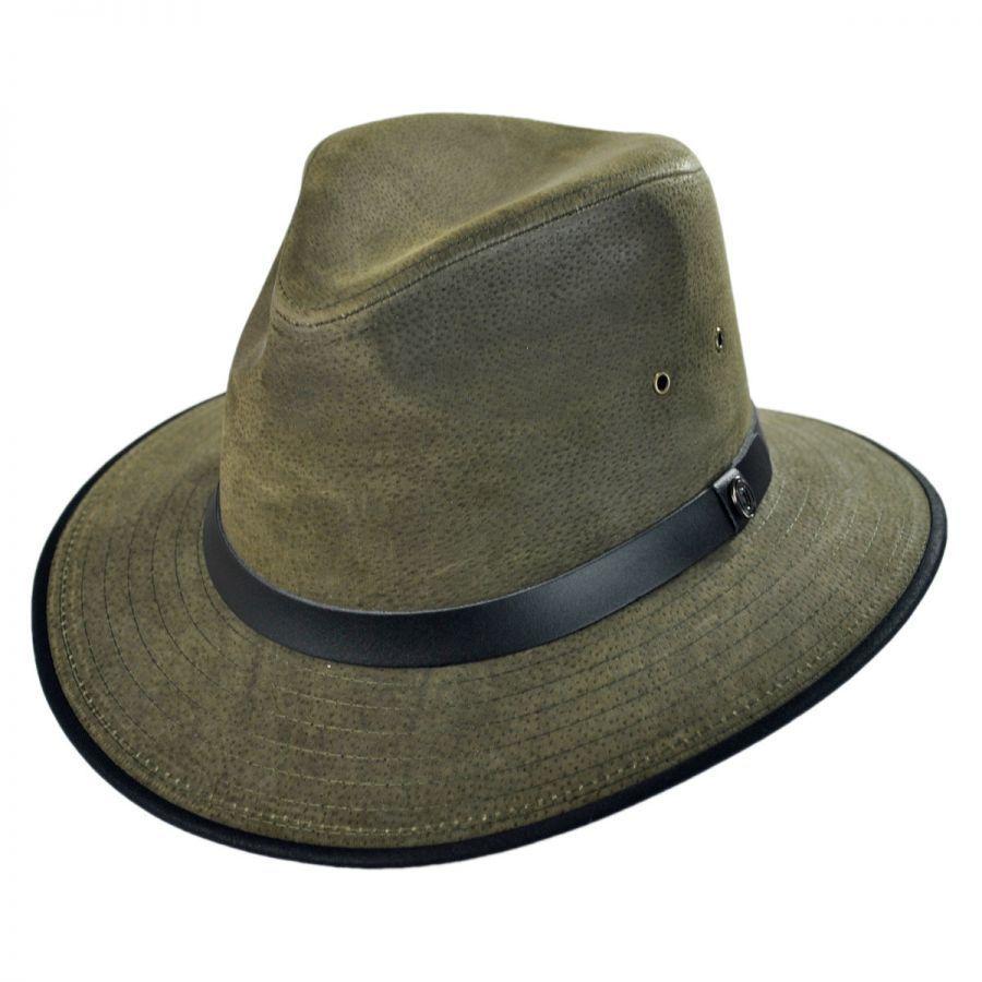 Jaxon Hats Nubuck Leather Safari Fedora Hat All Fedoras 46abae782ce