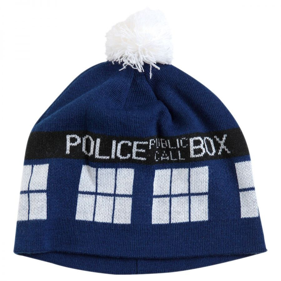 Doctor Who Dr. Who TARDIS Pom Knit Beanie Hat Novelty Hats - View All b03100438a7