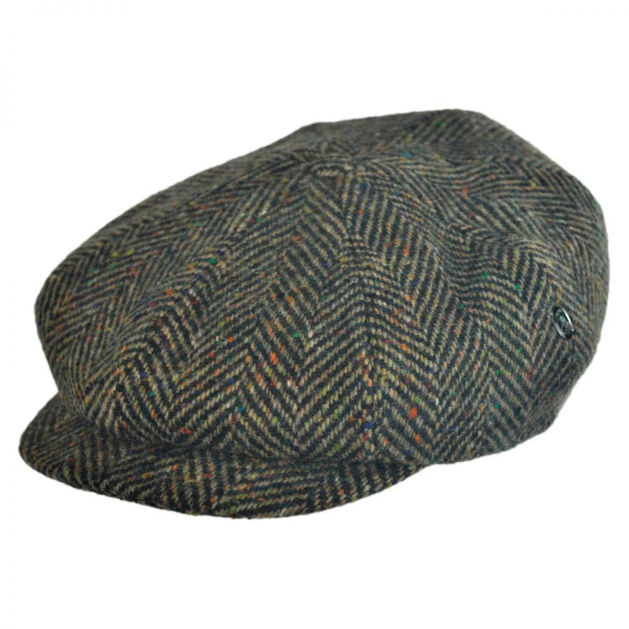 b61fb093e Herringbone Donegal Tweed Wool Newsboy Cap