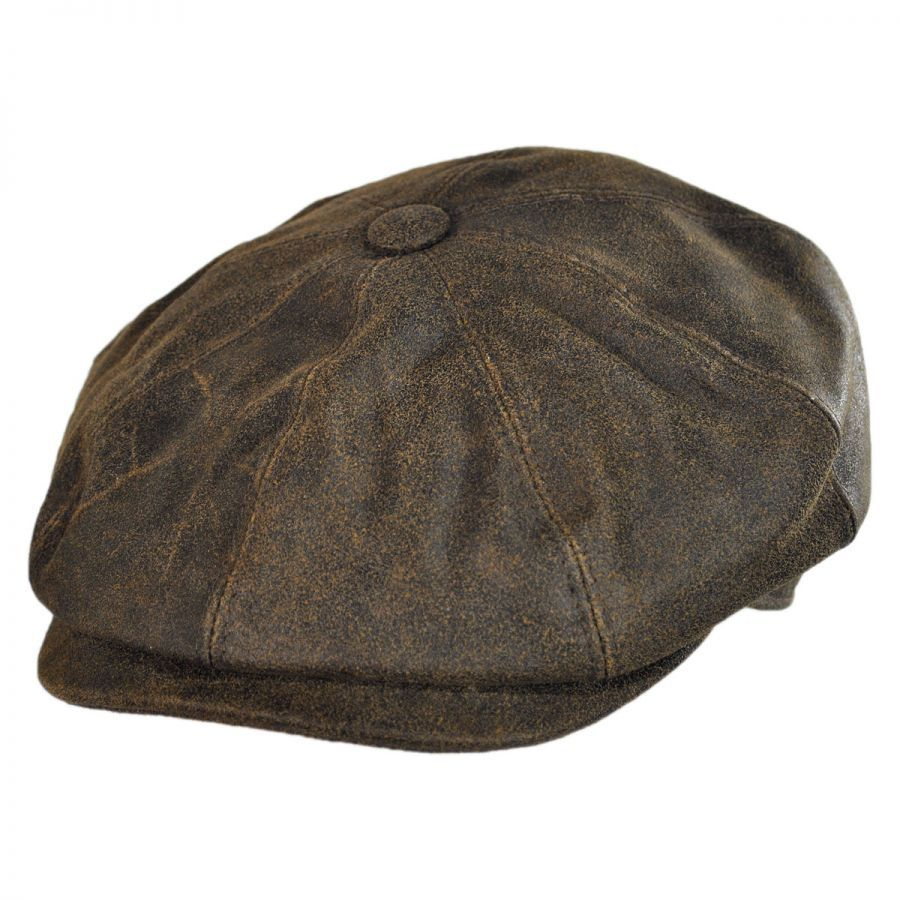 d279905f9f2 City Sport Caps Distressed Leather Newsboy Cap Newsboy Caps