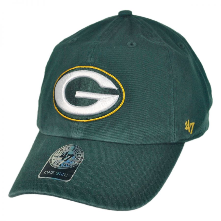 47 Brand Green Bay Packers NFL Clean Up Strapback Baseball Cap Dad Hat NFL Football Caps