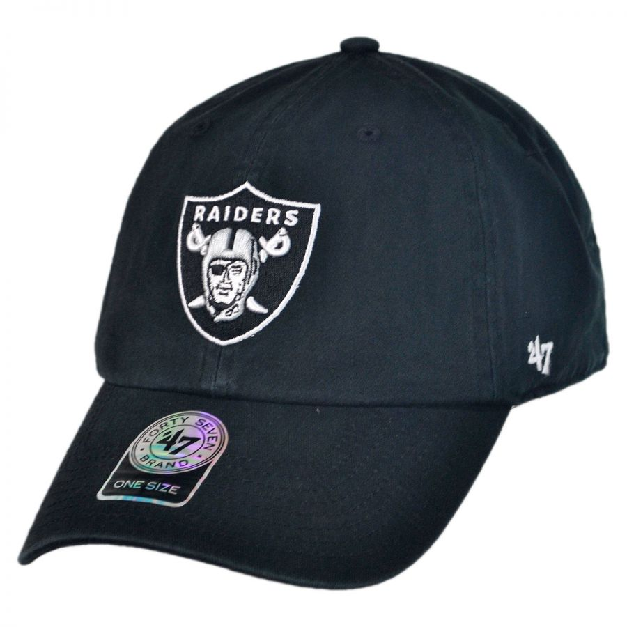 Oakland Raiders NFL Clean Up Strapback Baseball Cap Dad Hat alternate view 1 bbee49531d3