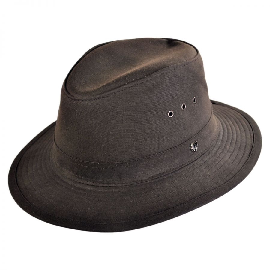 Hills Hats of New Zealand The Milford Wax Cotton Fedora Hat Rain Hats 1768514af02