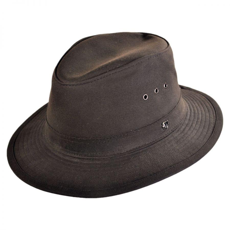 14c777ad Hills Hats of New Zealand The Milford Wax Cotton Fedora Hat Rain Hats