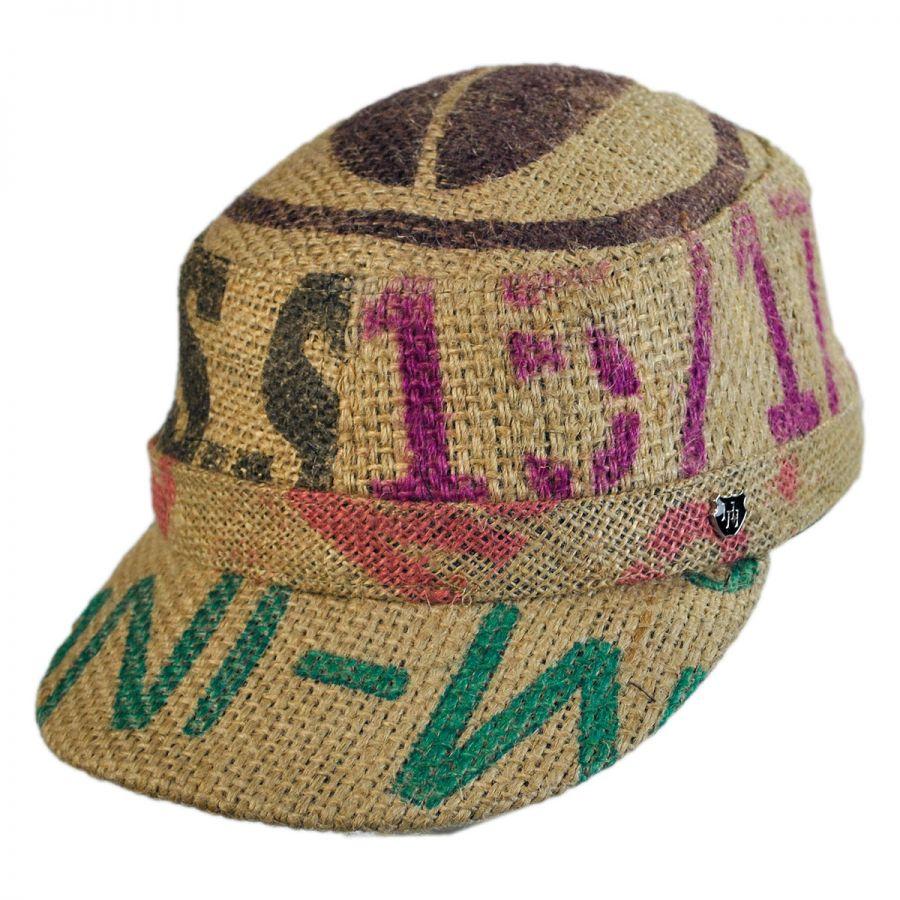 Hills Hats of New Zealand Havana Coffee Works Jute Gulf Cadet Cap ... 9d85bfb0f57