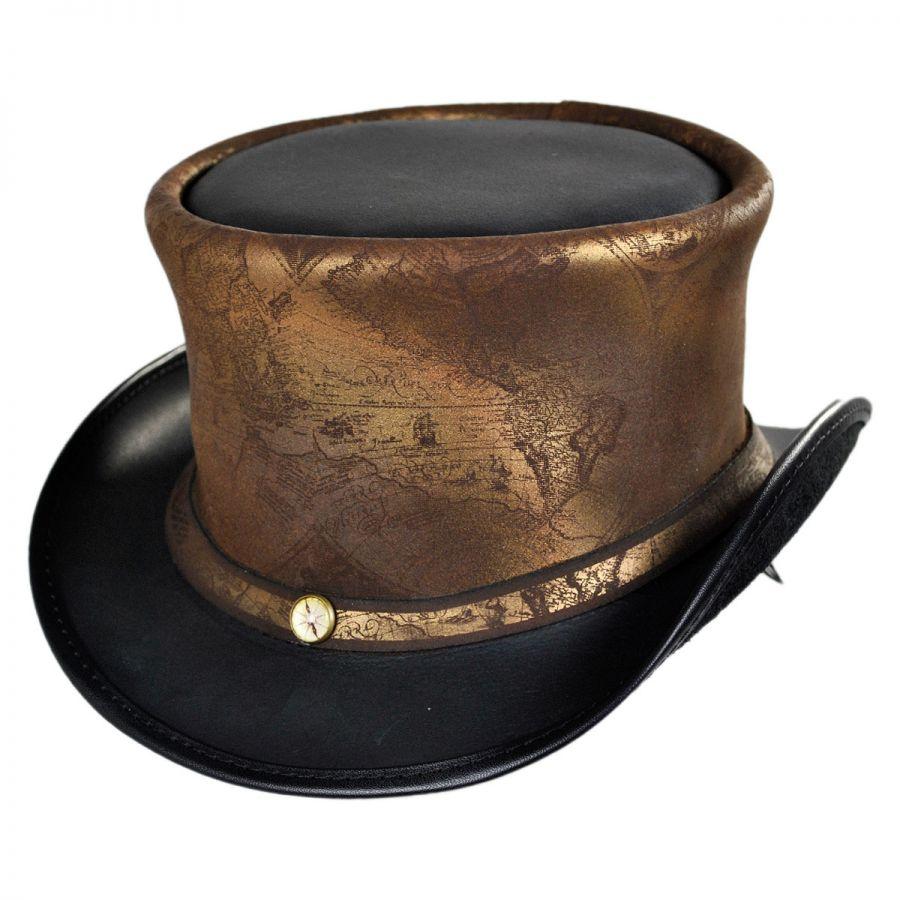 Head  U0026 39 N Home Hatlas Leather Top Hat Top Hats