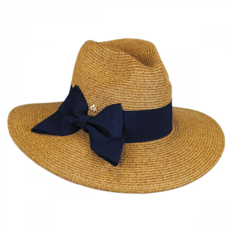 Cappelli Straworld Bow Toyo Straw Wide Brim Fedora Hat Sun Protection 1a8cf31ee34c