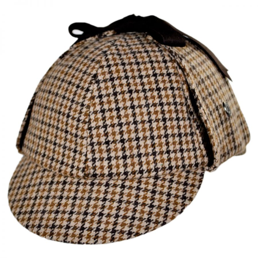 55943b5ba37 Jaxon Hats Sherlock Holmes Houndstooth Wool Blend Hat Novelty Hats ...