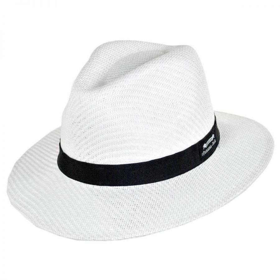 b7e08e98603 Panama Jack Ribbon Toyo Straw Safari Fedora Hat Straw Fedoras