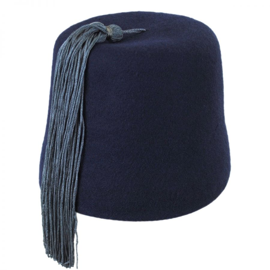 Village Hat Shop Navy Fez with Gray Tassel Fez e5711dec1d0