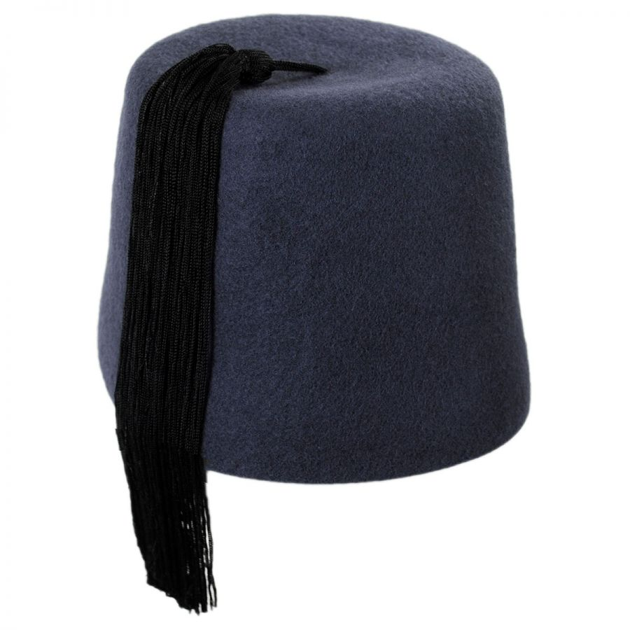 Village Hat Shop Gray Fez with Black Tassel Fez f1f32f3defd
