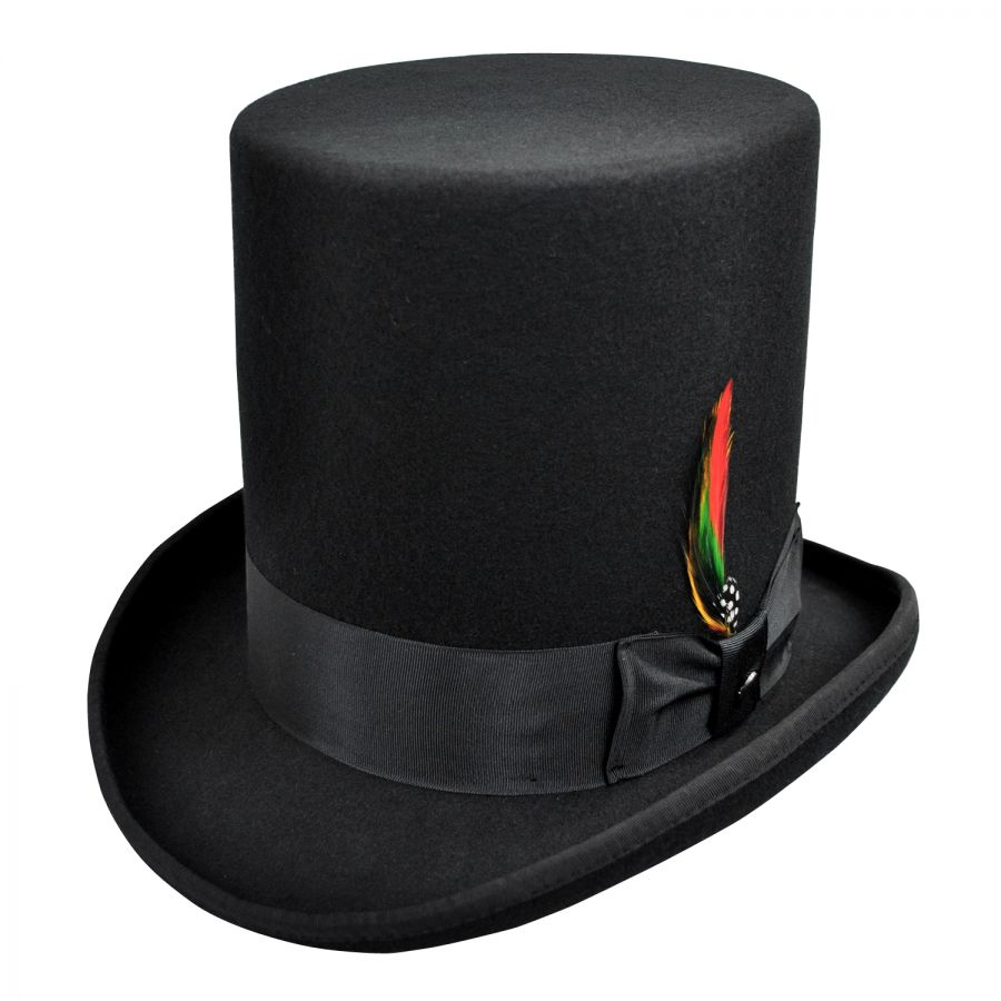 Low Short Top Hat Wool Felt Cylinder Hat Stove pipe Hat Topper 4 1//2 Crown