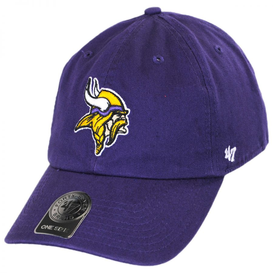 47 Brand Minnesota Vikings NFL Clean Up Strapback Baseball Cap Dad Hat NFL Football Caps