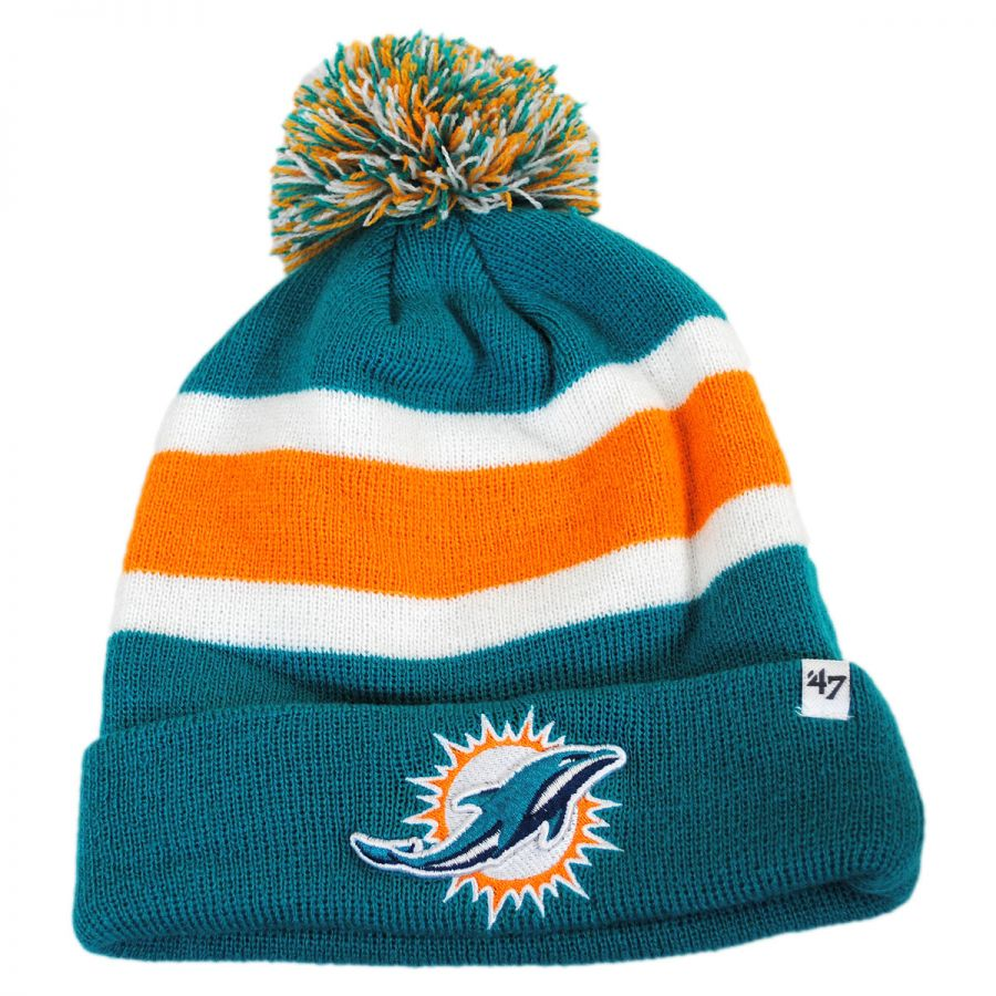 Knitting Pattern For Nfl Hats : 47 Brand Miami Dolphins NFL Breakaway Knit Beanie Hat NFL Football Caps