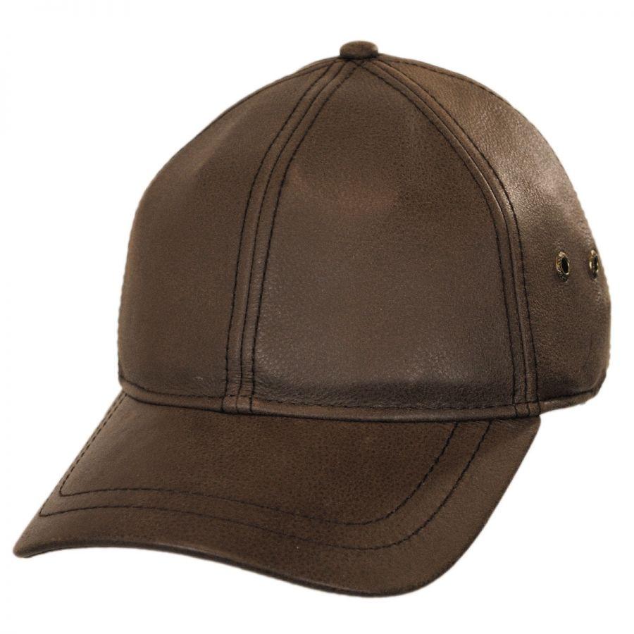 stetson timber leather adjustable baseball cap blank
