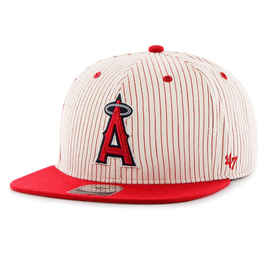 7a665a41e8579d 47 Brand Los Angeles Angels of Anaheim MLB Woodside Stripe Snapback Baseball  Cap