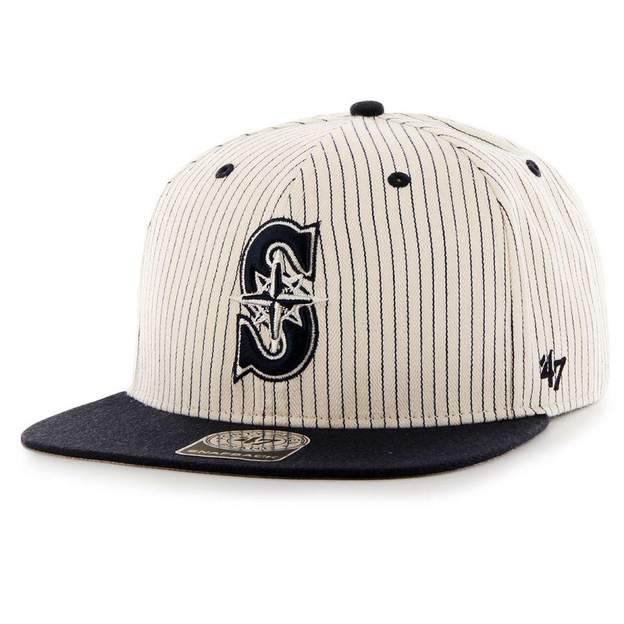 68cab17484d71 Seattle Mariners MLB Woodside Stripe Snapback Baseball Cap alternate view 1