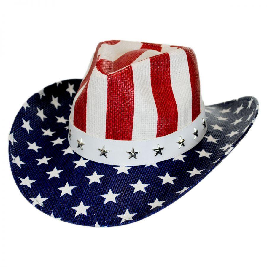 USA Flag Toyo Straw Western Hat