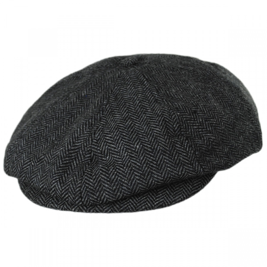 Brixton Hats Brood Herringbone Wool Blend Newsboy Cap - Gray Black ... 320088d8222