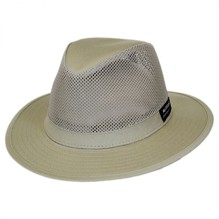 9fefbde504a6e8 Panama Jack Mesh Crown Cotton Safari Fedora Hat Fabric