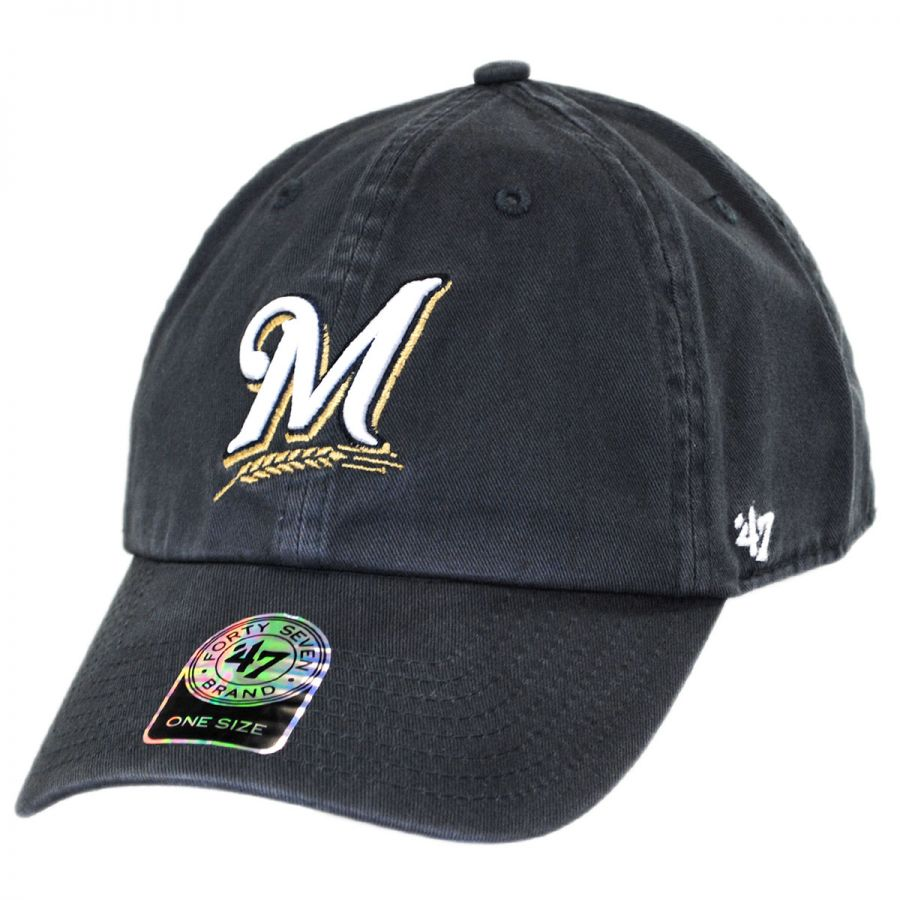 1161b95aa2003 Milwaukee Brewers MLB Clean Up Strapback Baseball Cap Dad Hat alternate  view 1