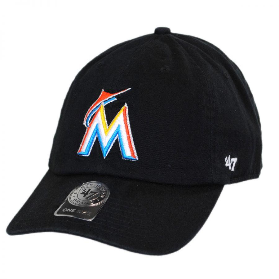 47 brand miami marlins mlb clean up strapback baseball cap