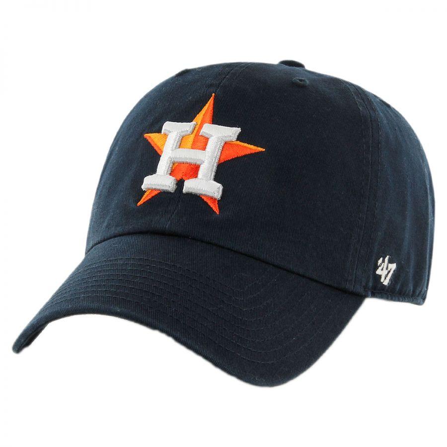 5da5a54f 47 Brand Houston Astros MLB Clean Up Strapback Baseball Cap Dad Hat ...