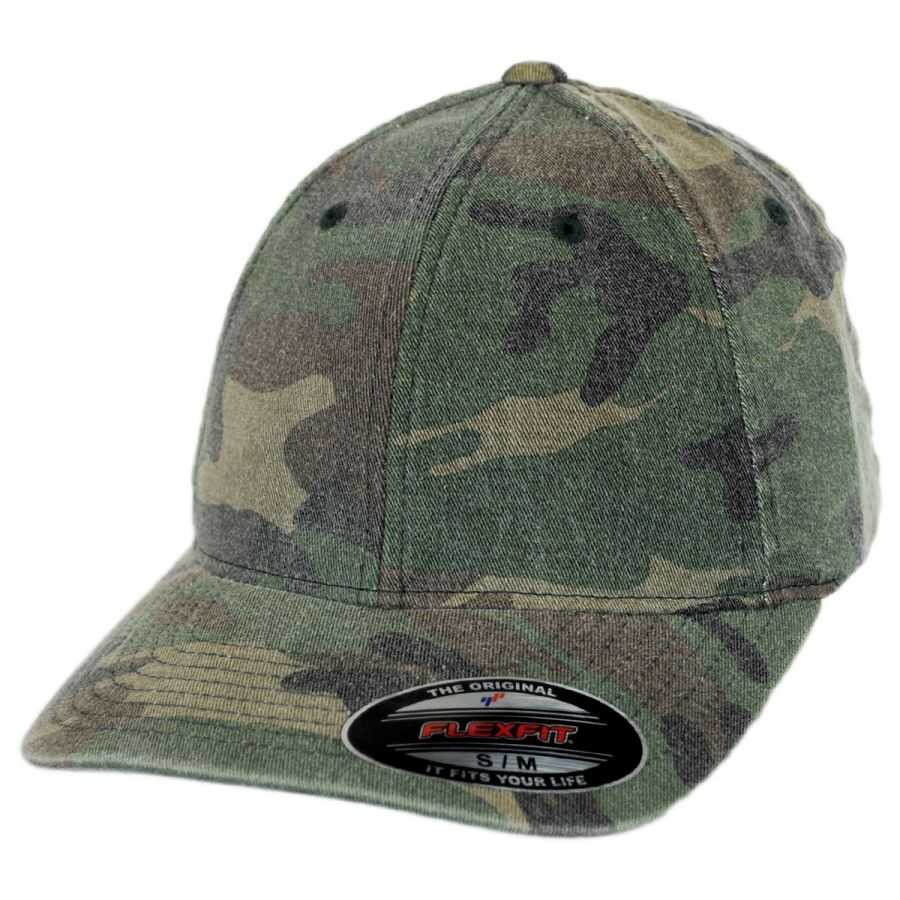 Flexfit camo garment washed twill lopro fitted