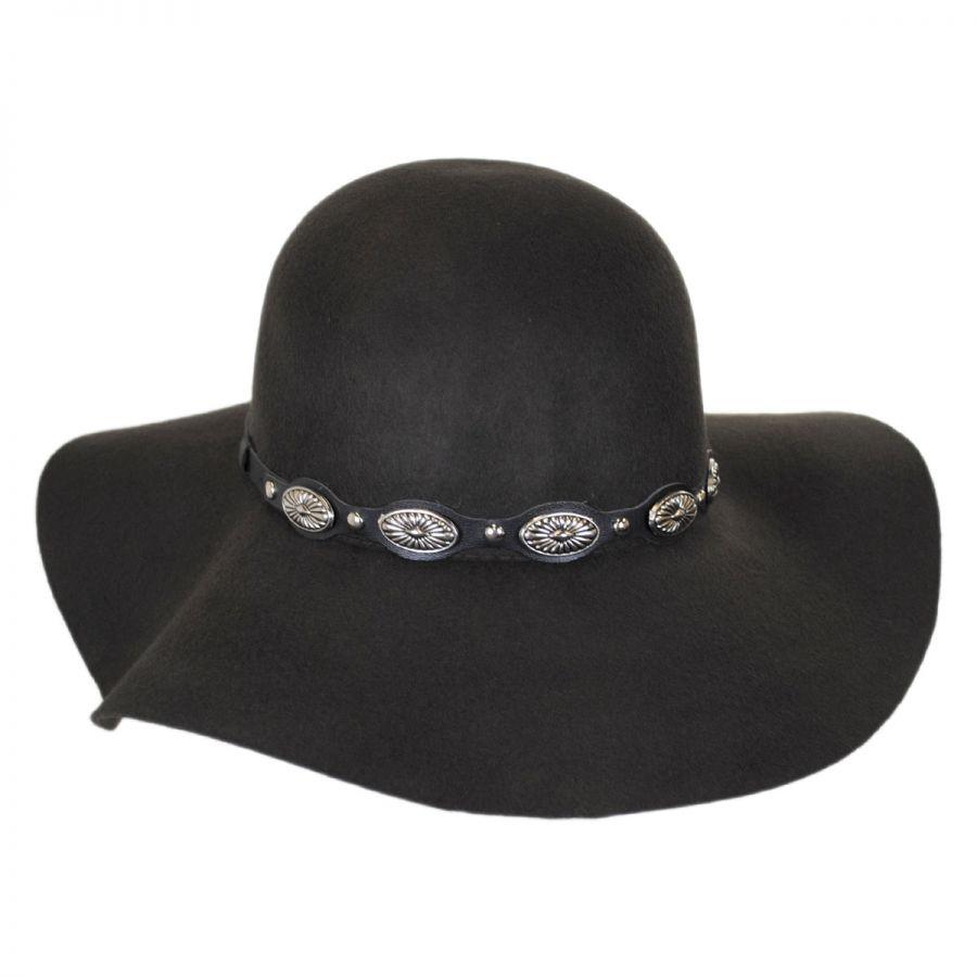 eb6fbc391ae Scala Leather and Conchos Wool Felt Floppy Hat Casual Hats