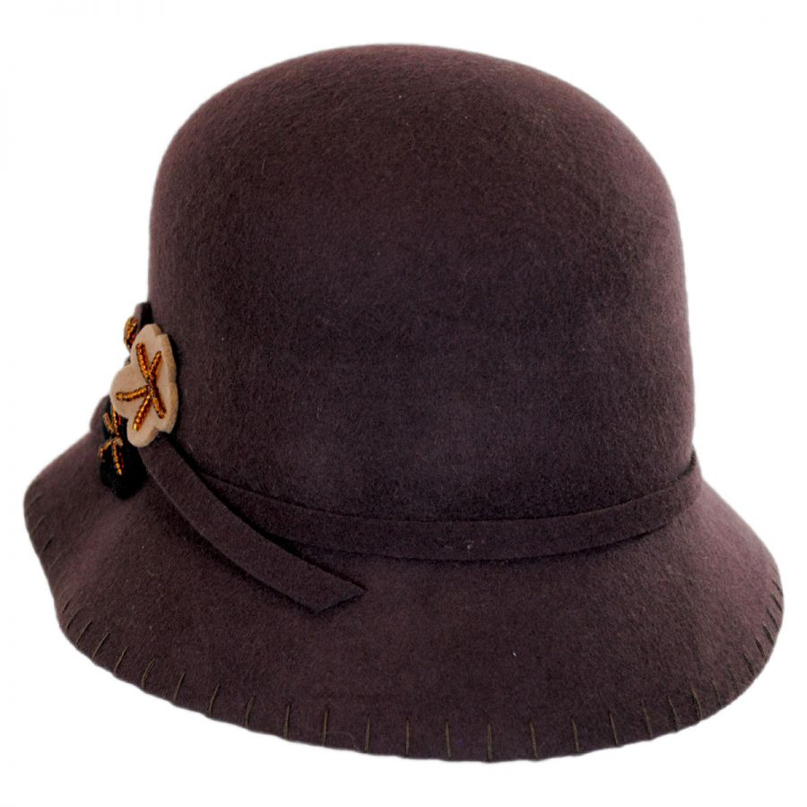 Scala Three Flower Wool Felt Cloche Hat Cloche & Flapper Hats