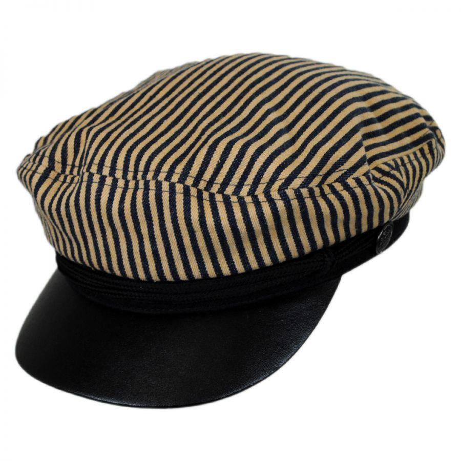 fa587f79b5c82 Jeanne Simmons Striped Cotton Sailor s Cap - Faux Leather Bill Greek ...