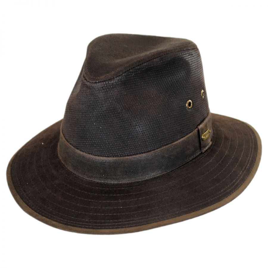 932d9bbce42a25 Stetson Weathered Leather Safari Fedora Hat Leather Fedoras