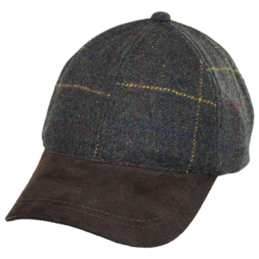 stetson windowpane wool and suede baseball cap blank