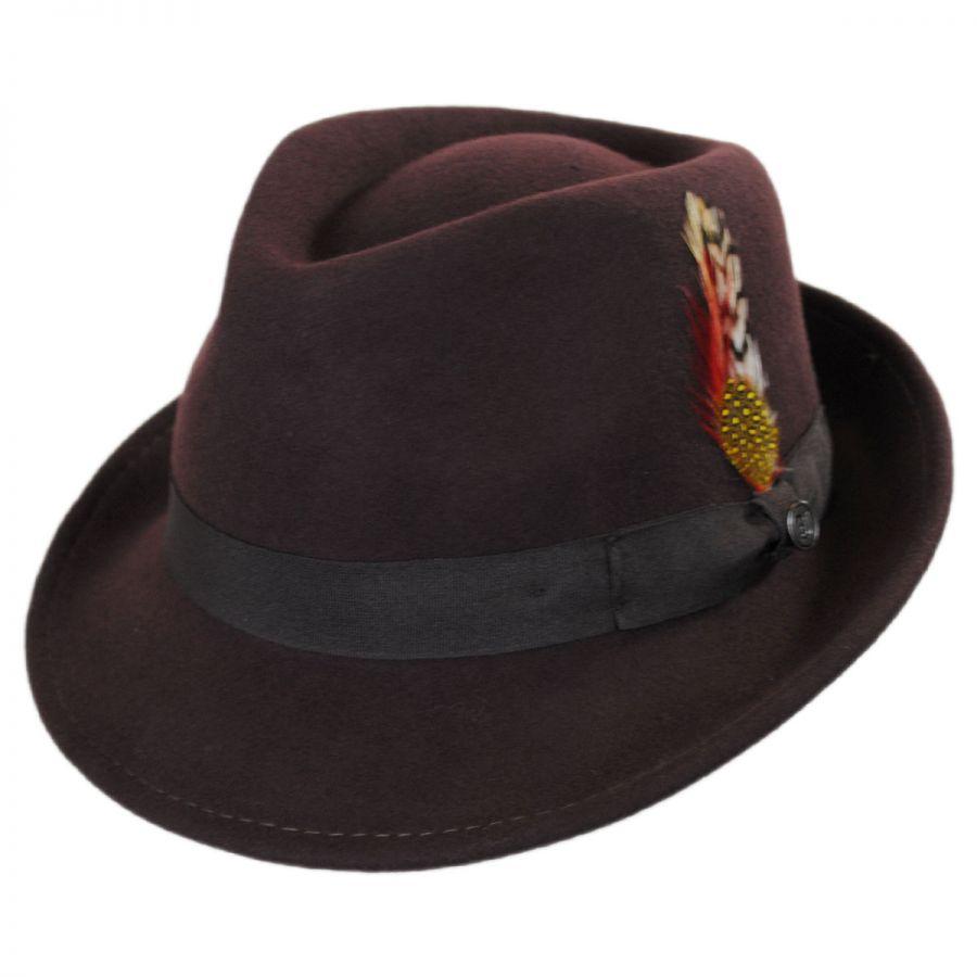 66ed05fbc0a35 Jaxon Hats Detroit Wool Felt Trilby Fedora Hat - Brown Stingy Brim ...