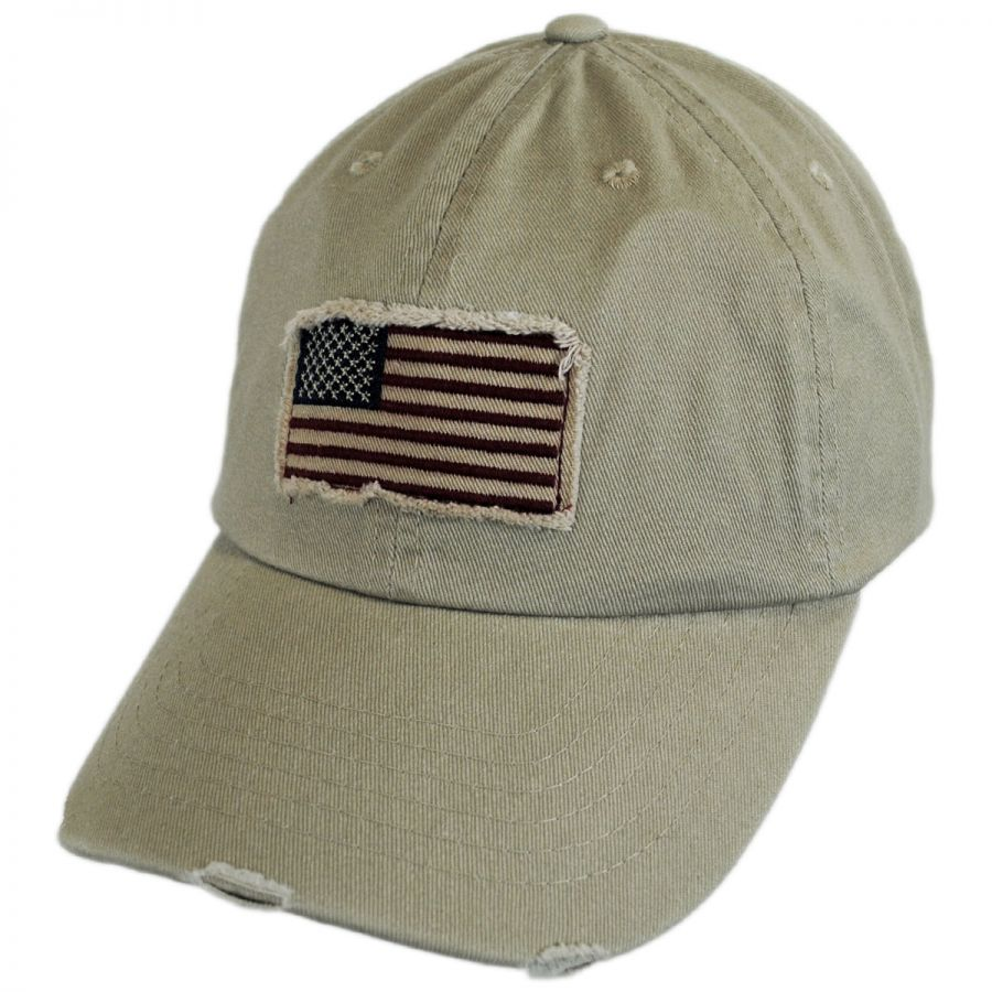dorfman pacific distressed usa flag strapback baseball cap