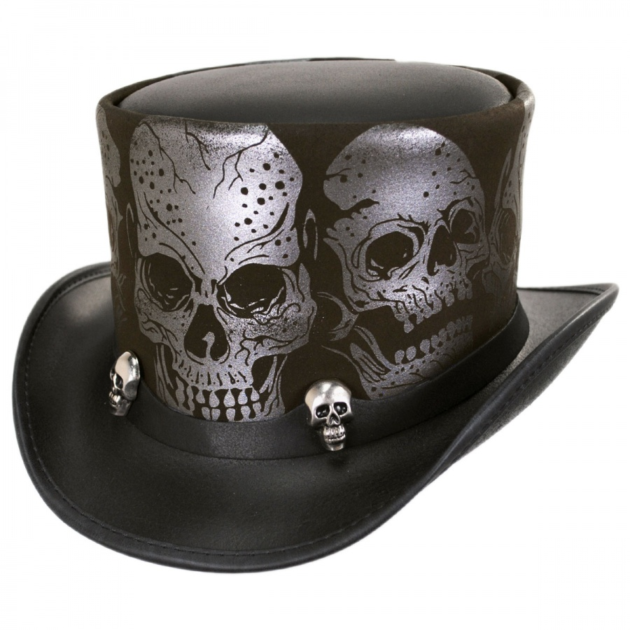 Head  N Home Silver Skull Leather Top Hat Top Hats a4e9b0d3665