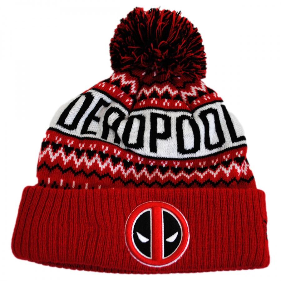 New Era Marvel Comics Deadpool Winter Knit Beanie Hat Animation ... b08f6356025